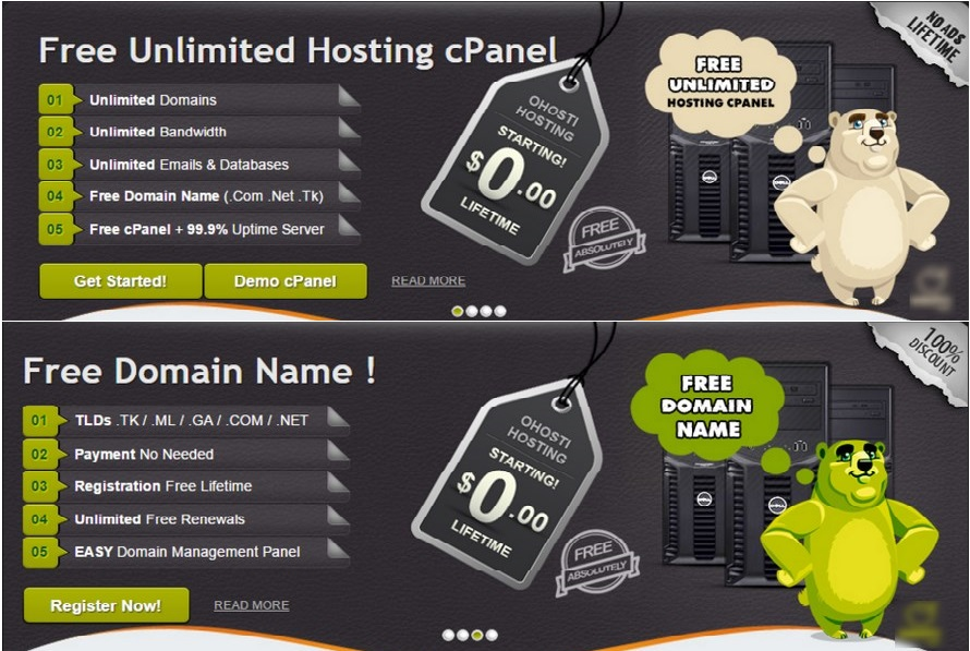 Free Domains and LifeTime Unlimited Free Hosting VPS no ADS