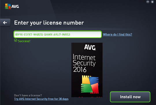 AVG Internet Security 2016 Free for 1 Year License Key