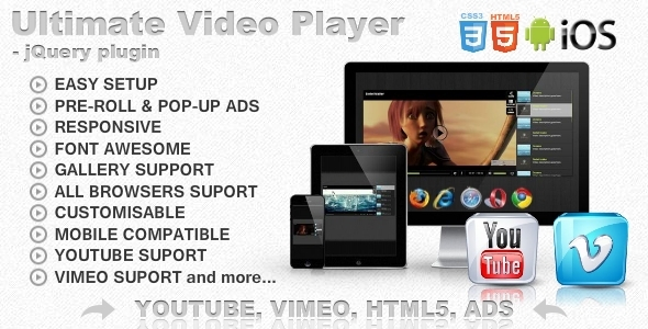 Ultimate Video Player with YouTube, Vimeo, HTML5, Ads