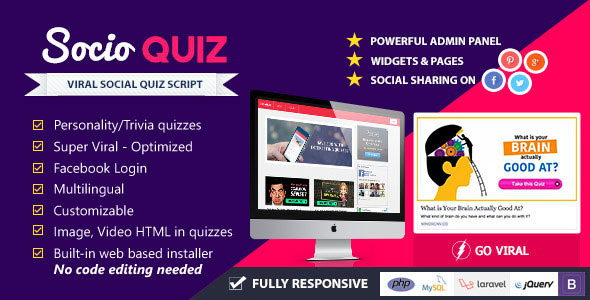 SocioQuiz Viral Quiz website with Facebook login Download