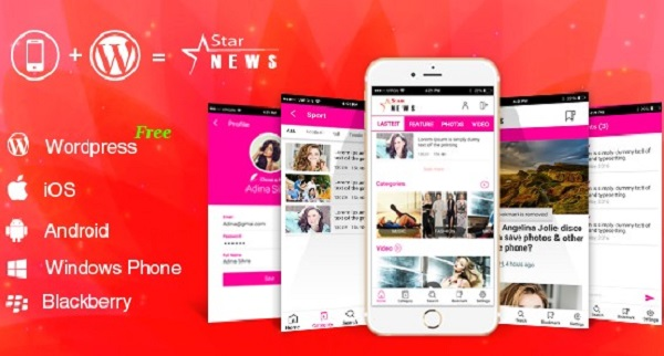 Full Android, iOS Mobile Application for WordPress Website WordPress Mobile Star News App