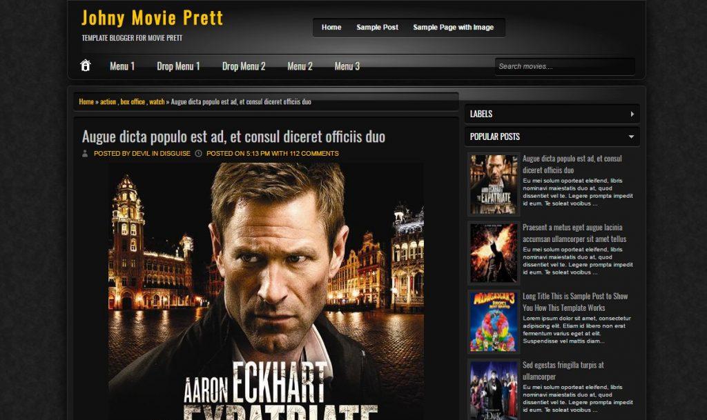 Johny Movie Prett Blogger Template Download