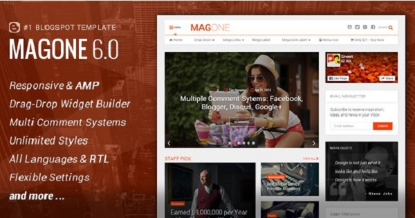 MagOne v6 Responsive News and Magazine Blogger Template Download