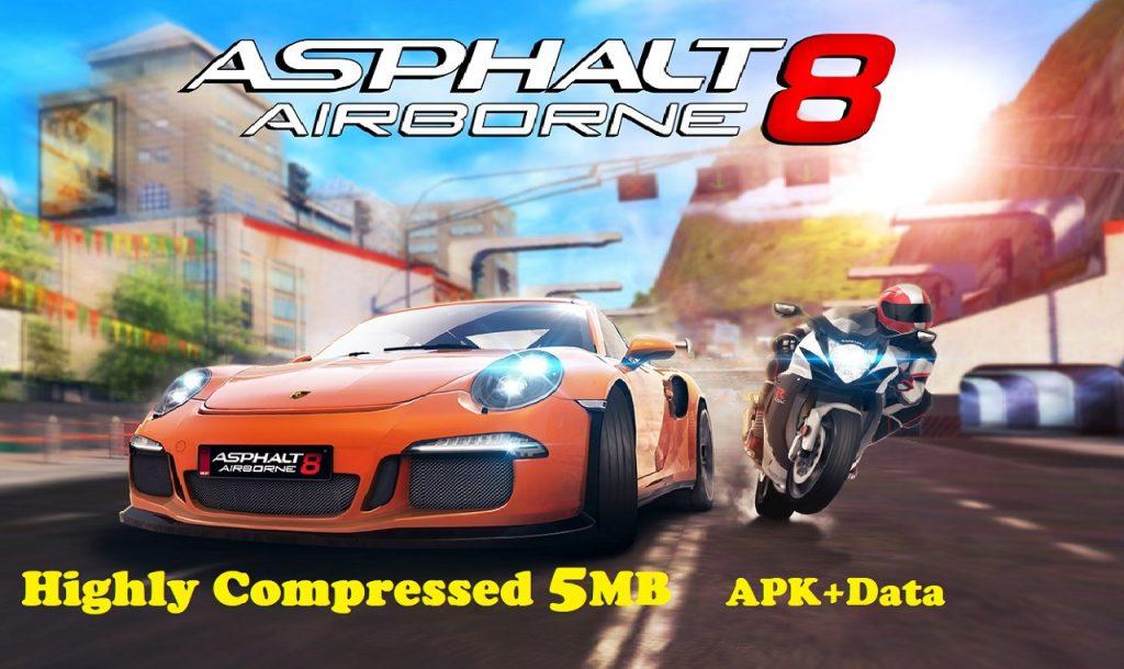 Asphalt 8 Airborne Apk Obb Data Highly Compressed 5MB