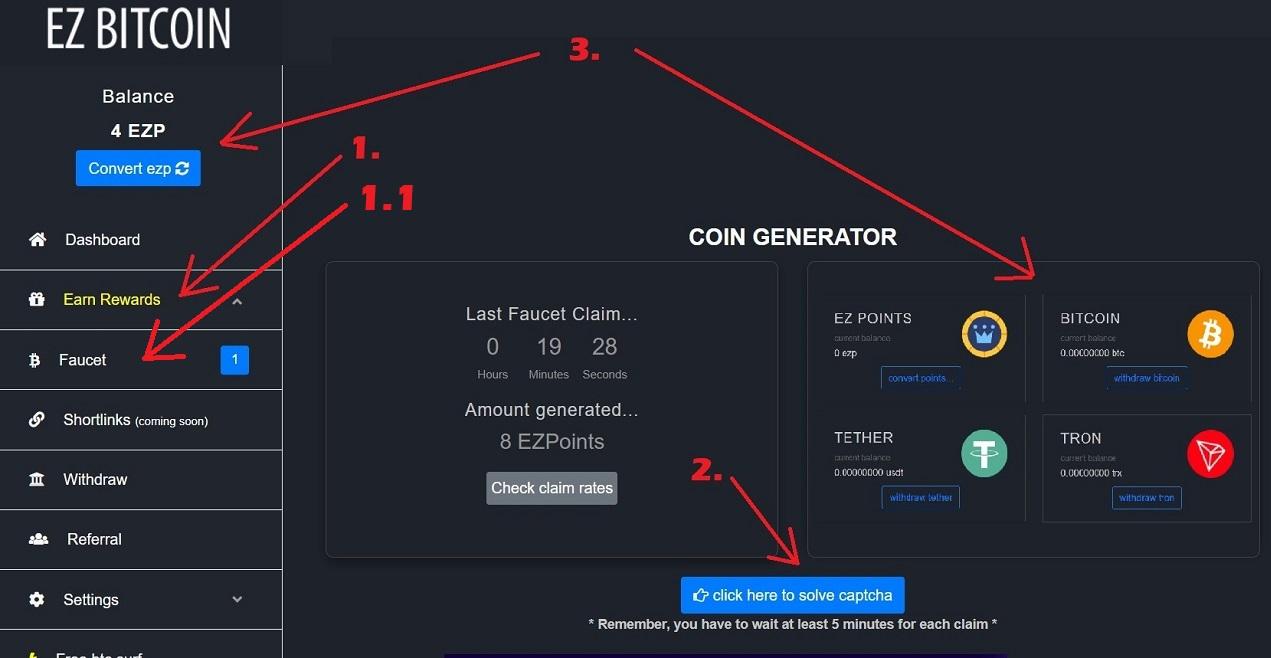 Ez Bitcoin Claim Every Minutes BTC TRX USDT